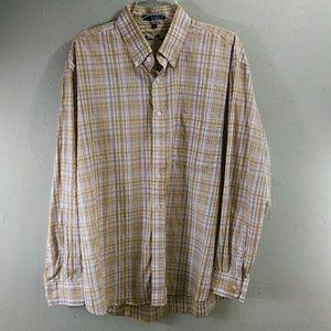 Alan Flusser Yellow Plaid Shirt XL EUC